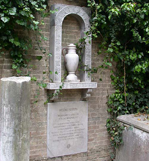 Herrera's grave in the Anglican section of the island cemetery, San Michele, in Venice.